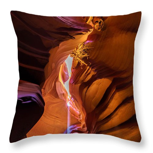 Sunbeam Throw Pillow featuring the photograph Debris Of Upper Antelope Canyon by Michelle Choi