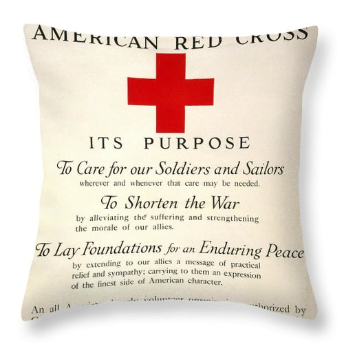 1917 Throw Pillow featuring the photograph Red Cross Poster, 1917 1 by Granger