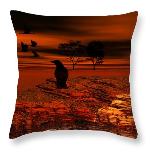 Red Throw Pillow featuring the digital art Red Dream by Bill Dykes