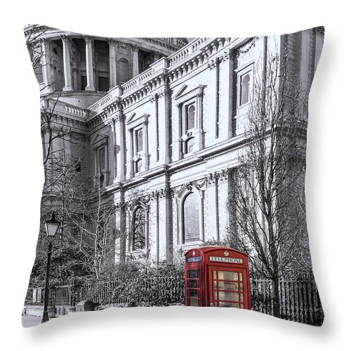 London Throw Pillow featuring the photograph Red Phone Box At St Pauls Cathedral London by Philip Pound