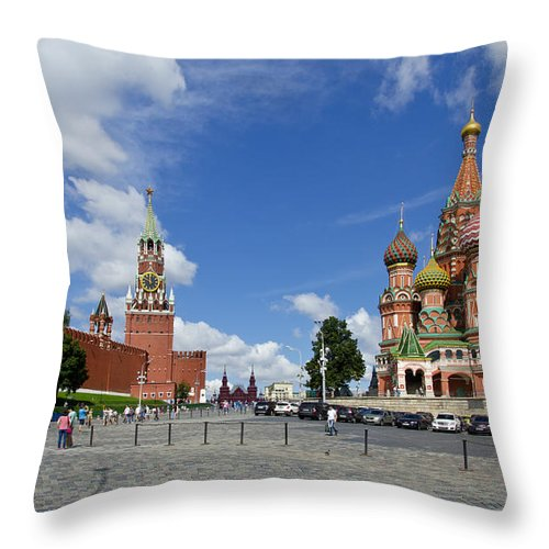 Red Square Throw Pillow featuring the digital art Red Square by Pravine Chester