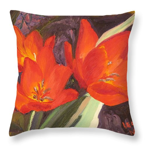 Flowers Throw Pillow featuring the painting Red Tulips by Lea Novak