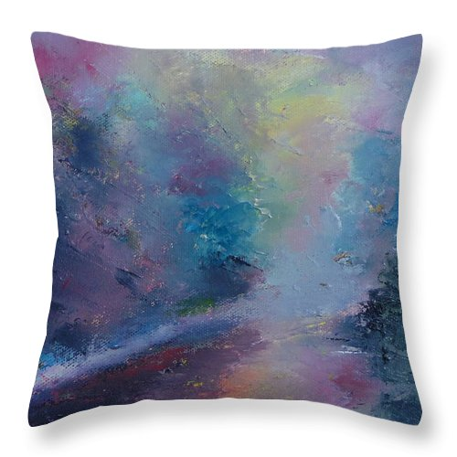Landscape Throw Pillow featuring the painting Reflections by Pusita Gibbs