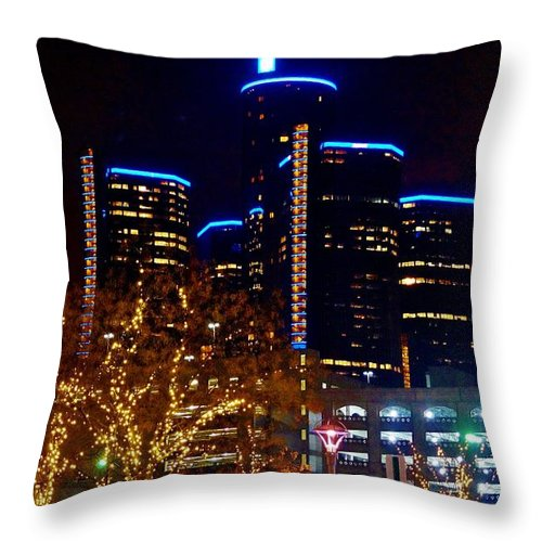 Throw Pillow featuring the photograph ren Cen at Night by Daniel Thompson