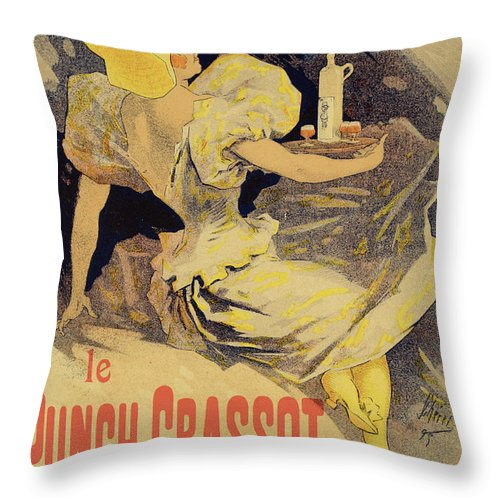 Advert Throw Pillow featuring the drawing Reproduction Of A Poster Advertising by Jules Cheret