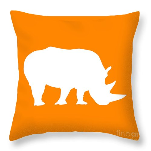 Graphic Art Throw Pillow featuring the digital art Rhino In Orange And White by Jackie Farnsworth