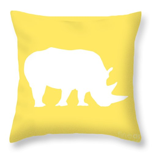 Graphic Art Throw Pillow featuring the digital art Rhino In Yellow And White by Jackie Farnsworth