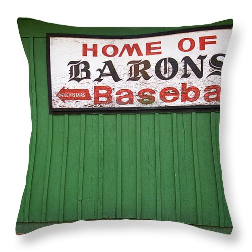 Alabama Throw Pillow featuring the photograph Rickwood Field by Frank Romeo