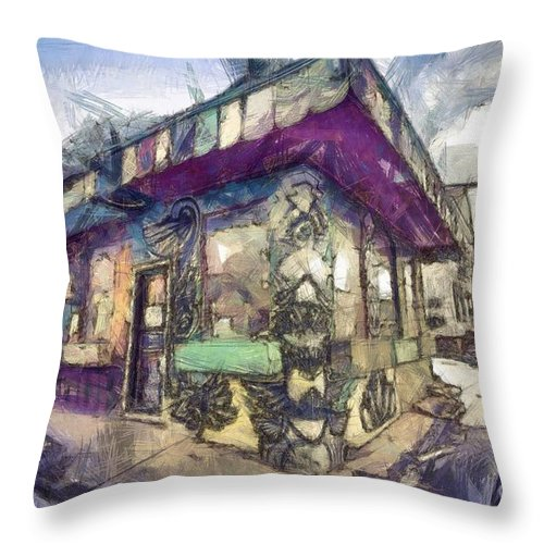 Pencil Throw Pillow featuring the photograph Riding High Skateboard Shop by Edward Fielding