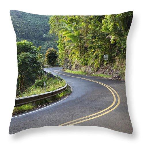 Ahead Throw Pillow featuring the photograph Road To Hana by Jenna Szerlag