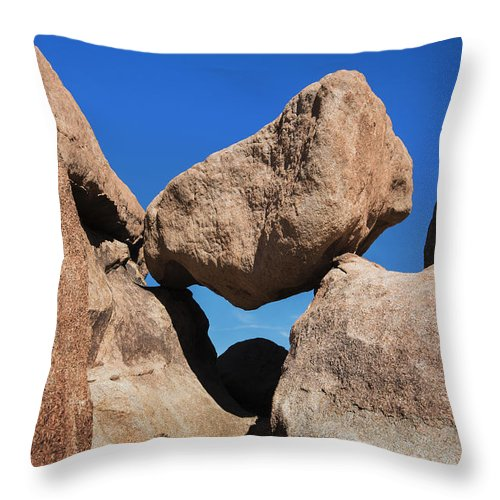Rock Formation Throw Pillow featuring the photograph Rock Formation - Joshua Tree National Park by Yefim Bam
