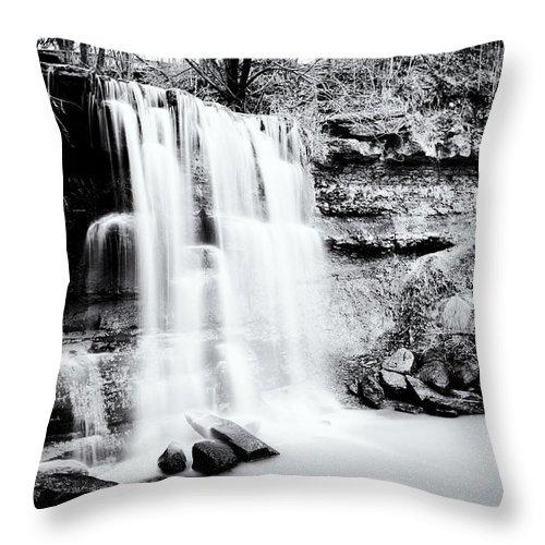 Rock Glen Falls Throw Pillow featuring the photograph Rock Glen Falls by Tanya Harrison