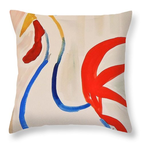 Rooster Throw Pillow featuring the painting Rooster by Troy Thomas