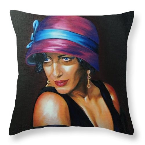 Portraits Of Women Throw Pillow featuring the painting Rose In A Cloche by Kenneth Claes