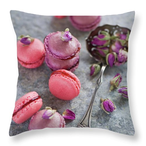 Stuffed Throw Pillow featuring the photograph Rose Macarons by Verdina Anna