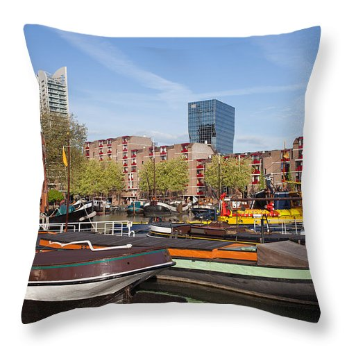 Rotterdam Throw Pillow featuring the photograph Rotterdam Cityscape In Netherlands by Artur Bogacki