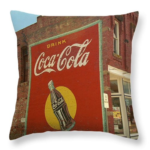 66 Throw Pillow featuring the photograph Route 66 - Coca Cola Ghost Mural by Frank Romeo