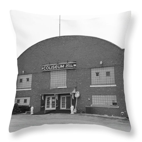 66 Throw Pillow featuring the photograph Route 66 - Coliseum Ballroom by Frank Romeo