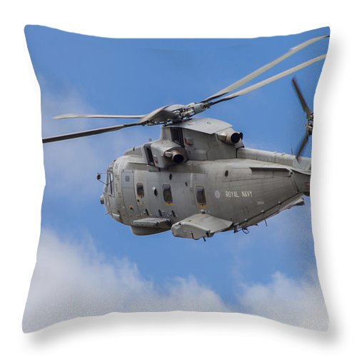 Germany Throw Pillow featuring the photograph Royal Navy Eh-101 Merlin In Flight by Timm Ziegenthaler