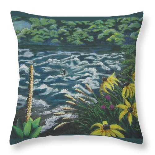 Landscape Throw Pillow featuring the painting Rushing Water by Suzanne Theis