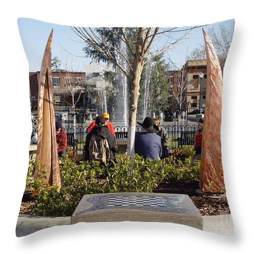 Copper Sculpture Throw Pillow featuring the photograph Rustic Embrace by Peter Piatt