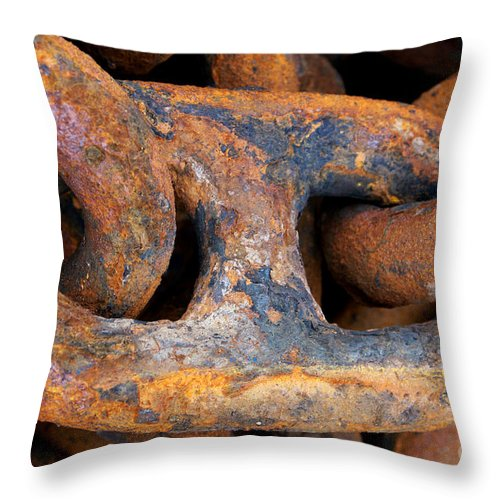 Anchor Throw Pillow featuring the photograph Rusty Steel Chain Detail by Jannis Werner
