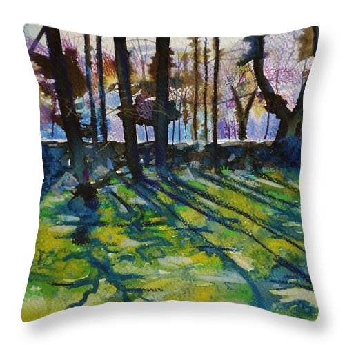 Garden Throw Pillow featuring the painting Sacred Garden In Gotland by Alberta Boato