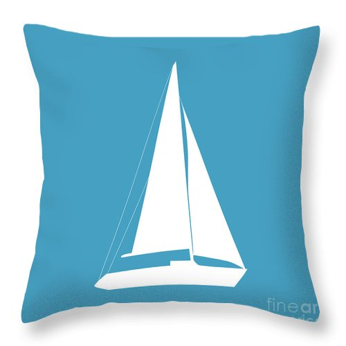 Graphic Art Throw Pillow featuring the digital art Sailboat In White And Turquoise by Jackie Farnsworth