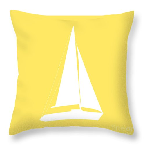 Graphic Art Throw Pillow featuring the photograph Sailboat In Yellow And White by Jackie Farnsworth