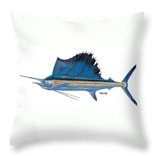 Sailfish Throw Pillow featuring the painting Sailfish by Carey Chen