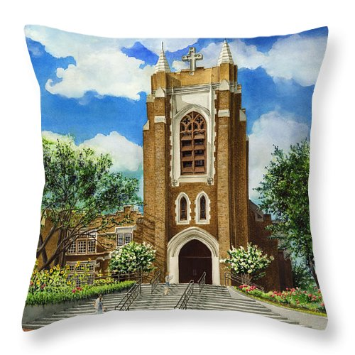 Saint Andrew's Episcopal Church Throw Pillow featuring the painting Saint Andrews Episcopal Church Bryan Texas by Hailey E Herrera