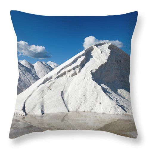 Working Throw Pillow featuring the photograph Salines De Llevant Salt Works by Holger Leue