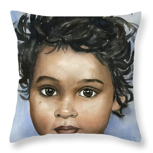 Indian Child Throw Pillow featuring the painting Sani by Michal Madison