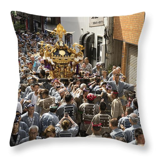 Asakusa Throw Pillow featuring the photograph Sanja Matsuri In Asakusa by For Ninety One Days