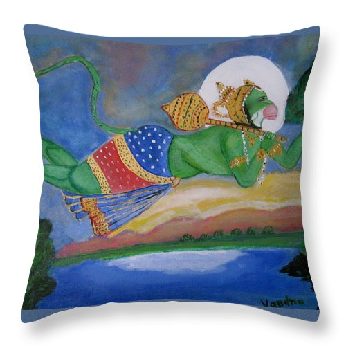 Hindu Deity Throw Pillow featuring the painting Sanjivani Hanuman by Vandna Mehta