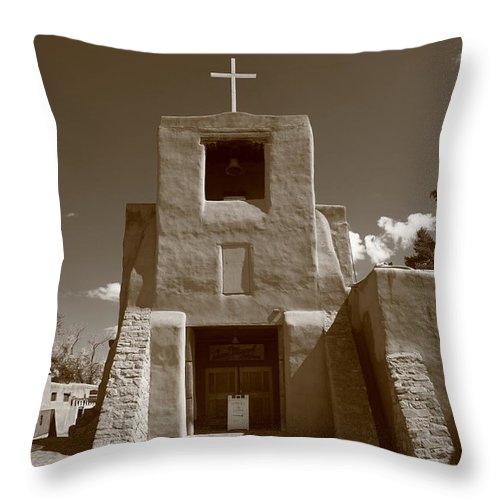 66 Throw Pillow featuring the photograph Santa Fe - San Miguel Chapel by Frank Romeo