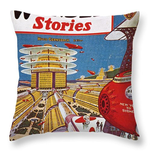 1934 Throw Pillow featuring the photograph Science Fiction Cover, 1934 by Granger