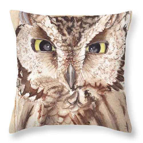 Owl Throw Pillow featuring the painting Screech Owl by Heather Stinnett