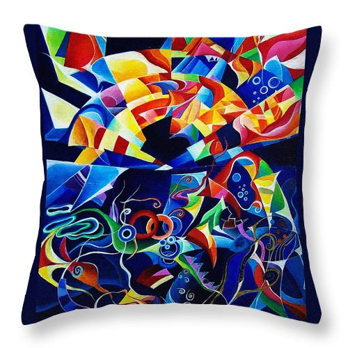 Alexander Scriabin Piano Sonata No.10 Acrylic Abstract Music Throw Pillow featuring the painting Scriabin by Wolfgang Schweizer