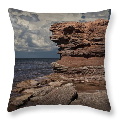 Art Throw Pillow featuring the photograph Sea Stack At North Cape On Prince Edward Island by Randall Nyhof