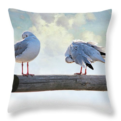 Springs Throw Pillow featuring the photograph Seagulls by Heike Hultsch