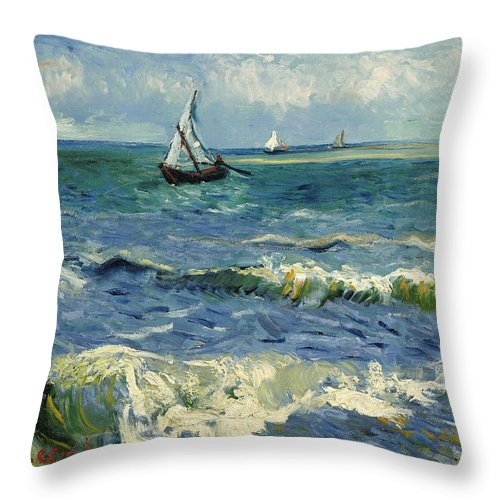 1888 Throw Pillow featuring the painting Seascape Near Les Saintes-maries-de-la-mer by Vincent van Gogh