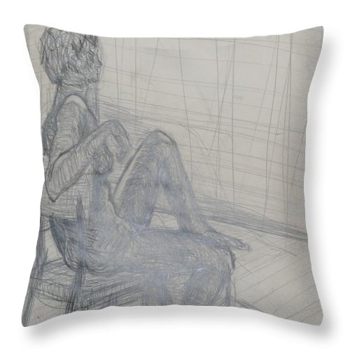 Chair Throw Pillow featuring the drawing Seated by Erika Chamberlin