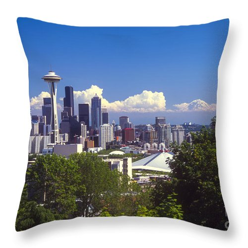Seattle Throw Pillow featuring the photograph Seattle City View by Bob Phillips