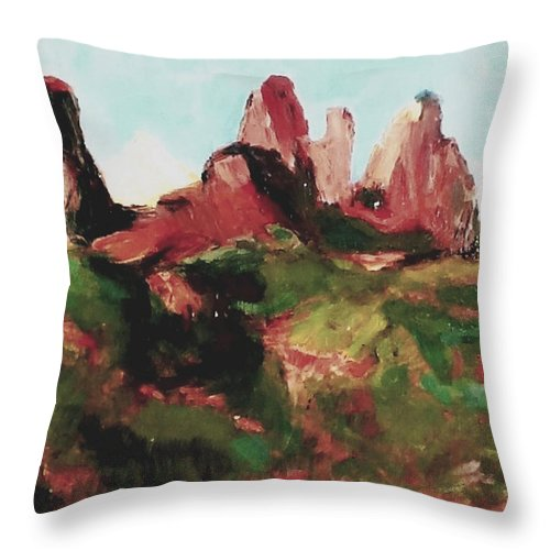 John Warren Oakes Art Throw Pillow featuring the painting Sedona 89a Uptown by John Warren OAKES