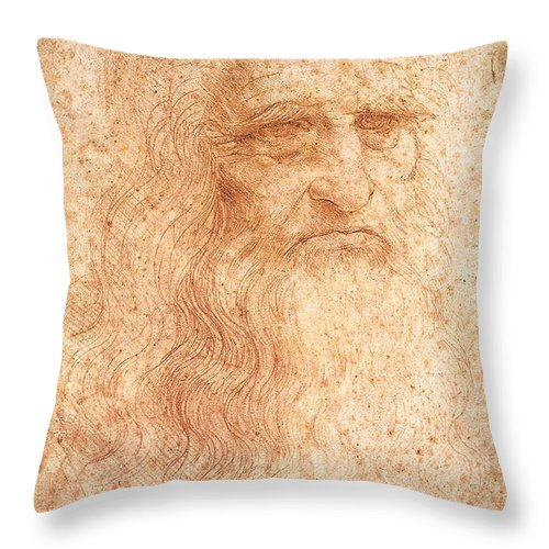 Turin Throw Pillow featuring the painting Self Portrait by Leonardo da Vinci