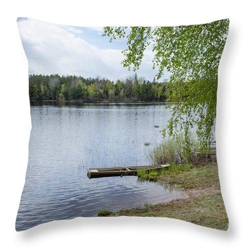 Beach Throw Pillow featuring the photograph Serene Lake View by Kennerth and Birgitta Kullman