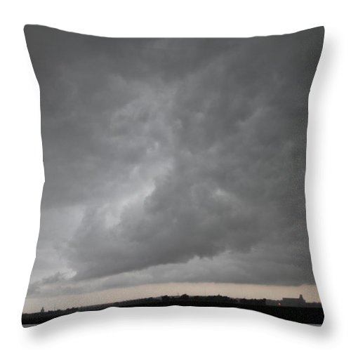 Stormscape Throw Pillow featuring the photograph Severe Warned Nebraska Storm Cells by NebraskaSC