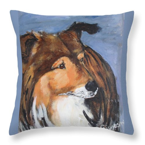 Animal Throw Pillow featuring the painting Sheltie by Shelley Jones
