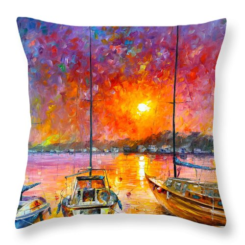 Afremov Throw Pillow featuring the painting Ships Of Freedom by Leonid Afremov